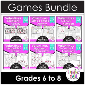 Valentine's Day Middle School Math Activities & Games BUNDLE