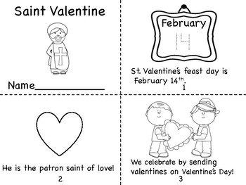 Saint Valentine Mini Book/Card and Coloring Page