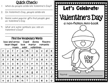 Valentine's Day Minibook plus Activities