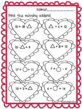 Valentine's Day Missing Addends