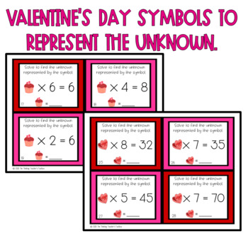 Valentine's Day Missing Factors and Products Multiplication Task Cards