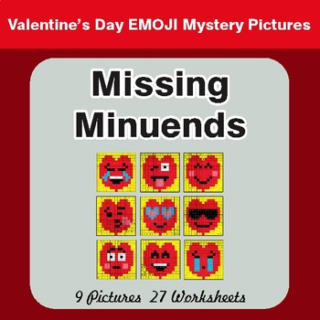 Valentine's Day: Missing Minuends - Color-By-Number Math Mystery Pictures
