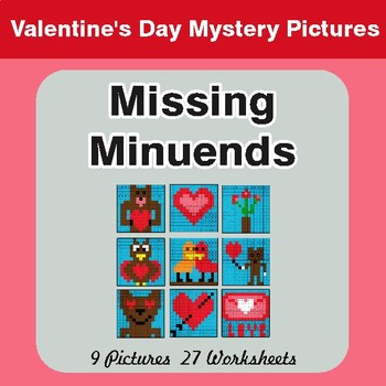 Valentine's Day: Missing Minuends - Color-By-Number Mystery Pictures