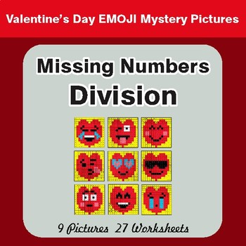 Valentine's Day: Missing Numbers Division - Color-By-Number Math Mystery Pictures