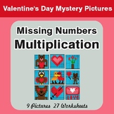 Missing Numbers Multiplication - Valentine's Math Mystery