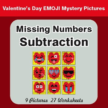 Valentine's Day: Missing Numbers Subtraction - Color-By-Number Math Mystery Pictures