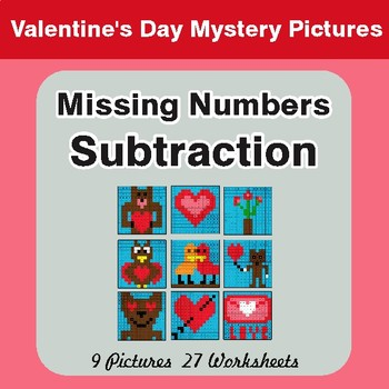 Valentine's Day: Missing Numbers Subtraction - Color-By-Number Mystery Pictures