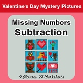 Missing Numbers Subtraction - Color-By-Number Valentine's