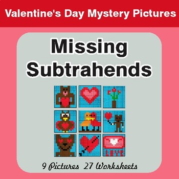 Valentine's Day: Missing Subtrahends - Color-By-Number Math Mystery Pictures