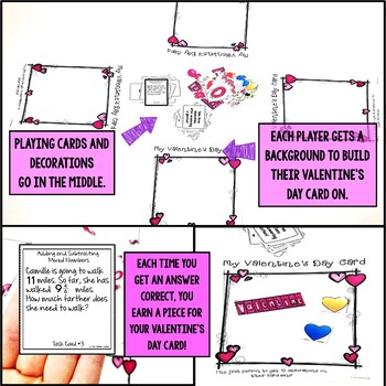 Valentine's Day Mixed Numbers Word Problem Game
