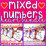 Valentine's Day Mixed Numbers Heart Pennant Bundle