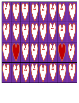 Valentine's Day Money Word Problem Bingo (TEKS 2.11A, 2.11C)
