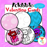 Valentine's Day Monster Cards Foldable Craft and Coloring Printable