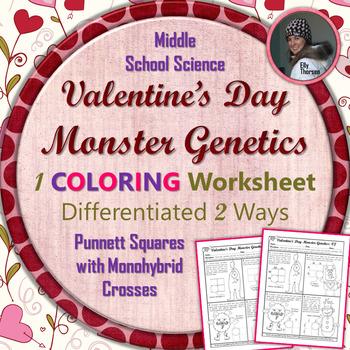 Valentine's Day Monster Genetics Punnett Square Coloring Worksheet