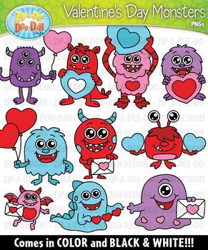 Valentine's Day Monsters Clipart {Zip-A-Dee-Doo-Dah Designs}