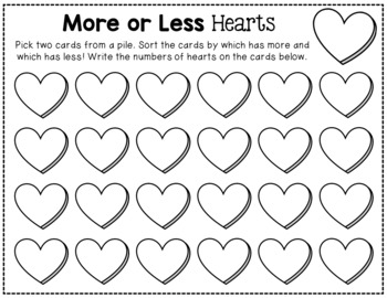 Valentine's Day More or Less Hearts Game