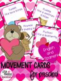 Valentine's Day Movement Cards for Preschool and Brain Break
