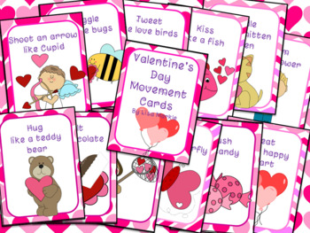 Valentine's Day Movement Cards for Preschool and Brain Break