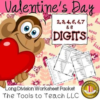 Valentine's Day Multi Digit Long Division Worksheet Packet No Prep
