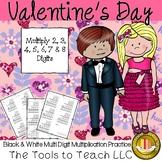 Valentine's Day Multi Digit Multiplication Math in Black a