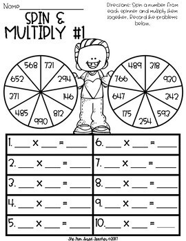 Valentine's Day Multi Digit Multiplication - Spin and Multiply