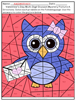 Valentine's Day Multi-Digit Multiplication and Division Mystery Pictures