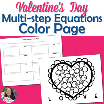 Multi-Step Equations Valentine's Day Color Page Activity