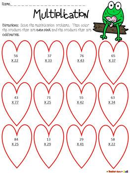 valentine 39 s day multiplication color the product tpt. Black Bedroom Furniture Sets. Home Design Ideas