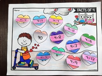 Valentine's Day Multiplication Worksheets for 3rd Grade | February Math Activity
