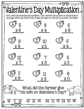 Valentine's Day Multiplication Riddles: 3 Difficulty Levels with Answer Keys