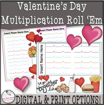 Valentine's Day Multiplication Roll 'Em