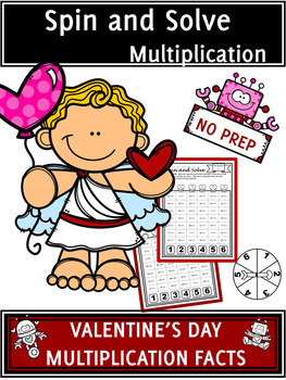 Valentine's Day Activities Multiplication Spin and Solve Math Centers