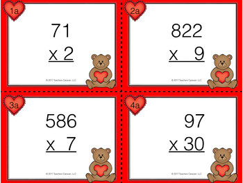 Valentines Day Math Multiplication Task Cards