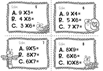 Valentine's Day Multiplication Task Cards (3rd/4th grade)