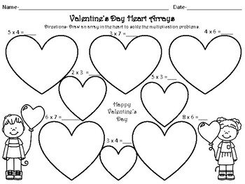 Valentine's Day Multiplication Worksheets [Fluency/Array Practice]