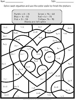 Valentine's Day Multiplication and Division Color by Number