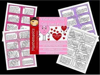Valentine's Day Multiplication and Division Task Cards / CCSS 4th-5th Grades