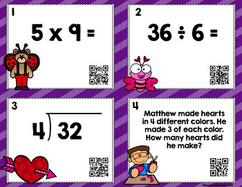Valentine's Day Multiplication and Division Task Cards with Optional QR Codes