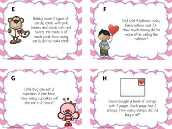 Valentine's Day Multiplication and Divsion Word Problems (Task Cards)