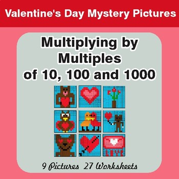 Multiplication by 10, 100, 1000 - Valentine's Math Mystery Pictures