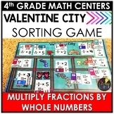 Valentine's Day Multiply Fractions by Whole Numbers Game