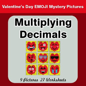 Valentine's Day: Multiplying Decimals - Color-By-Number Math Mystery Pictures