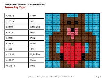 Valentine's Day: Multiplying Decimals - Color-By-Number Mystery Pictures