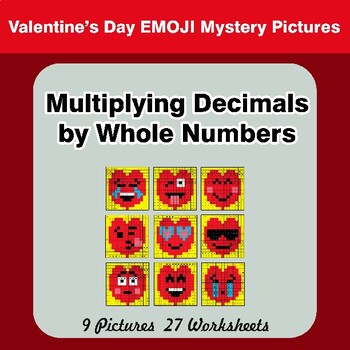 Valentine's Day: Multiplying Decimals by Whole Numbers - Math Mystery Pictures