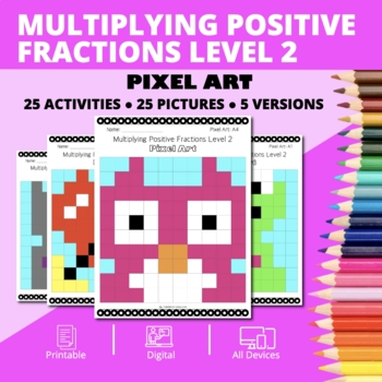 Valentine's Day: Multiplying Fractions #2 Pixel Art Mystery Pictures