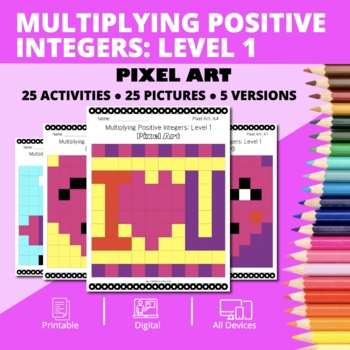 Valentine's Day: Multiplying Integers #1 Pixel Art Mystery Pictures