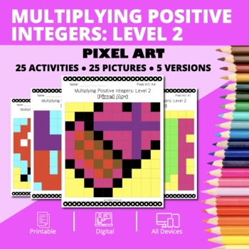 Valentine's Day: Multiplying Integers #2 Pixel Art Mystery Pictures