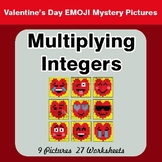 Multiplying Integers - Color-By-Number Valentine's Math Mystery Pictures