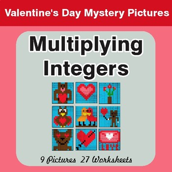 Valentine's Day: Multiplying Integers - Color-By-Number Math Mystery Pictures