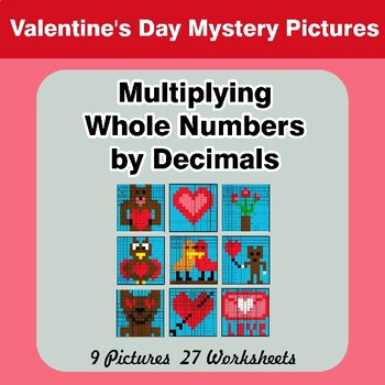 Valentine's Day: Multiplying Whole Numbers by Decimals - Math Mystery Pictures